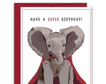 """Free shipping! Elephant birthday card: """"Have a super birthday"""" // happy birthday card, birthday cards 5""""x7"""" A7"""