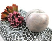 Still Life Relic with Peach and Two Flowers - Pillow Flowers Carnation Fruit Nectarine Plum Polka Dot Cushion Orange Red Petal Pink Fuchsia