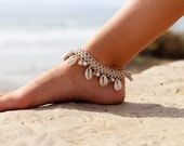 Beach  Anklets, Boho Anklet, Gypsy Bells, Indian Anklet, Cowrie Shell  Hemp Anklet