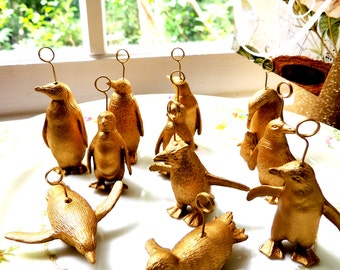 Gold Silver Animal Place Card Holder Wedding Assorted Penguins Realistic Small Animals Unique Placecard Holders Place Settings Table Decor