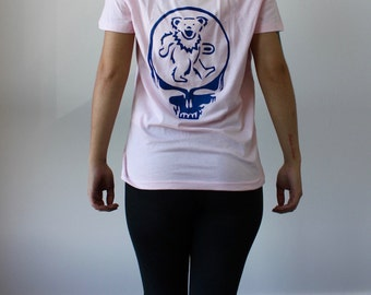 Medium Large Pink and Blue Dancing Bear Stealie Tee