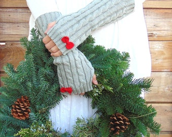Light Grey Long Fingerless Gloves with Red Bows, Gray Arm Warmers, Knit Gloves, Grey Knitted Mittens, Winter Accessories, Gift for Her