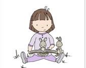 Custom Listing for Pepper -- Girl Nursery Art -- Girl Reads to Bunnies -- Y18