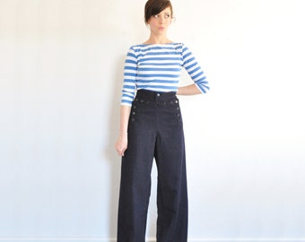 navy blue wool sailor pant . high waist wide leg nautical trouser .large.extra large.xl