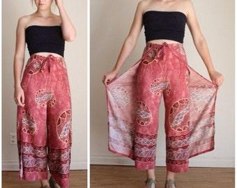 Wide Leg Pants, Wrap Around Pants, Wrap Pants, Wide Leg Capri, Cropped Pants, Batik, 90s Clothing, BOHO Hippie Cotton Pants, Flowy Pants OS