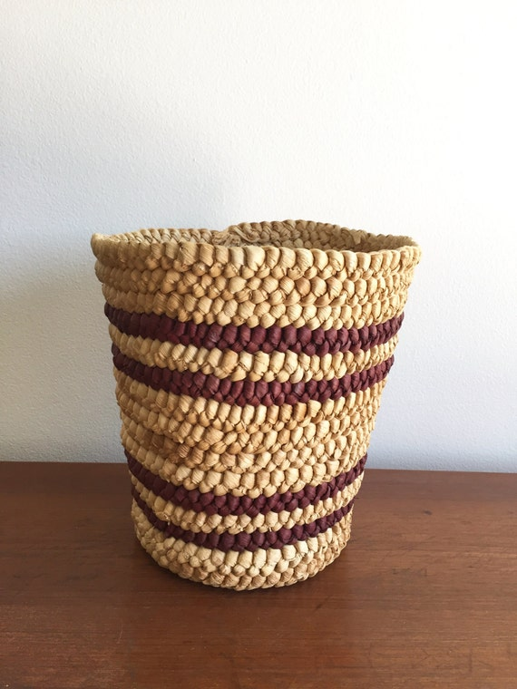 Handmade Small Baskets : Hand woven waste basket handmade planter pot small