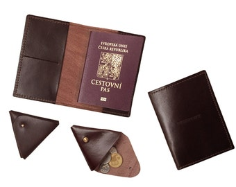 Brown Full Grain Leather Passport Cover,  Passport Holder ,  Gifts For Travelers, Travel Gifts, Passport Leather Pouch