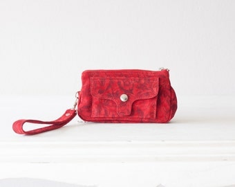 Wristlet wallet in red floral suede leather, womens phone wallet phone case zipper wallet clutch -Thalia Wallet