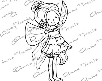 Digital Stamp, Digi Stamp, digistamp, Sweet Fairy by Anna Travis, Coloring Page, girl
