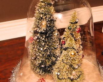 Bell Jar With Lighted Brush Trees, Beautiful Christmas Shabby Chic Decor