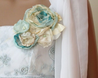 Rustic bridal corsage in cream white and mint, Fabric flower dress pin, Bridal Sash Flower, Bridesmaid Corsage