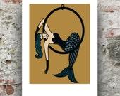 Circus Mermaid / Aerialist Mermaid Print / Circus Art Print / Mermaid Print