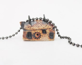 Dark House Necklace Pendant,Weird Clay House,Tiny House, Miniature Shotgun House, Cream Blackened Burned Pottery, House Jewelry, HC