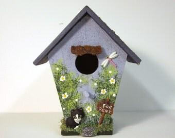 Summer Rental Mini Birdhouse with Black Kitten
