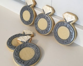 Engagement Wedding Ring Cookies - 1 Dozen