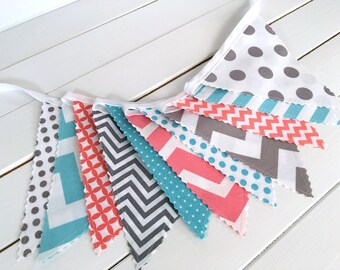 Banner Bunting, Photo Prop, Fabric Flags, Nursery Decor, Birthday Decoration, Baby Shower - Coral Pink, Aqua Blue, and Gray Chevron Dots