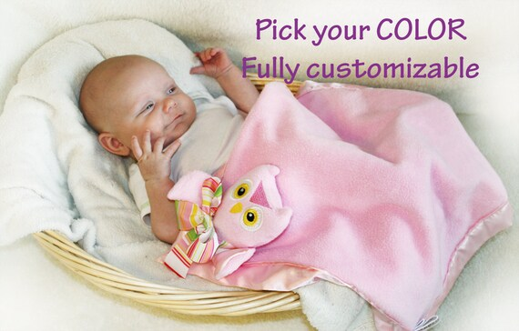 Pink Owl Security Blanket, Lovey Blanket, Satin, Baby Blanket, Stuffed Animal, Baby Toy - Customize Color - Monogramming Available
