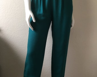 Vintage Women's 80's Unworn, High Waisted Pants, Teal, Tapered Leg by Campus Casuals (S)