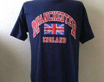 Vintage Men's 90's T Shirt, Manchester England, Navy Blue, Short Sleeve (M/L)