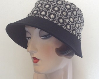Sample sale. Fabric Cloche hat, sun hat, travel hat, Trina Cloche, Gatsby, Downtown, Flapper.
