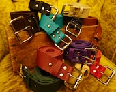 Plain Handmade Bullhide Leather Belt With A Nickel Plated Roller Buckle / Strong Thick Soft Durable / Made In The USA!