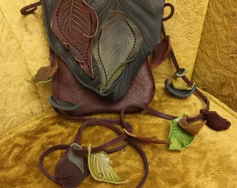 Small Leather Leaf Forest Purse w/ Loose leaves / Hip Bag Pouch Tote LARP Woodsy Woodland Elf Faerie Renaissance Hobbit Earthy Earth Nymph