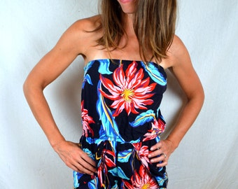 Vintage 80s 90s Strapless Tropical Rainbow Summer Romper