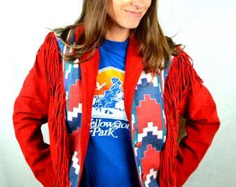Vintage 80s RED Suede Leather Southwest Geometric Print Fringe Rocker Jacket by Lariat