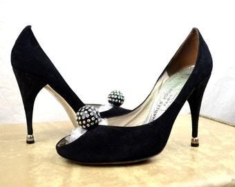 Amazing Vintage 1980s Charles Jourdan Stiletto Shoes, RHINESTONE Balls -  Made in France