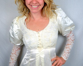 Vintage 1980s Lace Satin Gunne Sax Romantic Renaissance Peasant Lace Wedding Dress
