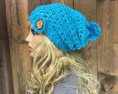 Crochet Ribbed Brim Slouchy Slouch Crochet Beanie Hipster Hat Coconut  Button Pom Pom - CHINOOK - RIP TIDE