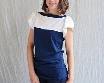 Sale, Medium, Fae Top, Navy and White, Cotton Jersey, Flutter Sleeve- ready to ship