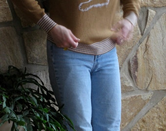 70s-80s Cat Green-eyed Embroidered Kitten Patch Camel Rib Knit Crewneck with Ivory Stripe Accent and Long Sleeves