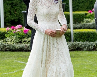 kate middleton/ Chandra pleated white lace dress kate inspired dress custom made wedding