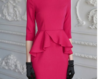 ruffle-2 waist dress pencil custom made to measure ALL SIZES classic