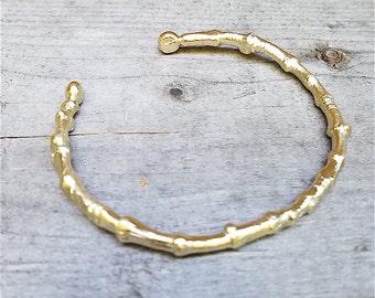 branch cuff bracelet ~  thick twig cuff ~ gold cuff bracelet nature inspired branch