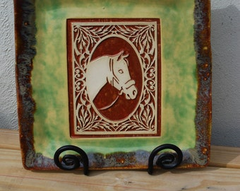 Horse. Horses. Equestrian. Unique. Handmade. Ceramic. Green. Horse Art. Pony. Ponies. Gifts for the Couple. Weddings. Wedding Gift Idea.