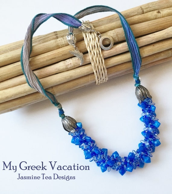 My Greek Vacation Beaded Kumihimo Necklace with Hand Dyed Silk