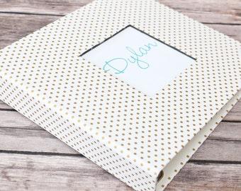 Baby Book, Baby Gift, Baby Album, Baby Memory Book, Baby Keepsake, Modern Baby Book, Gold Polka Dots
