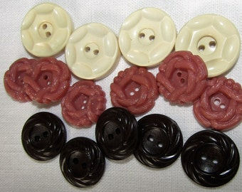 Buttermilk Mauve and Chocolate Brown Prim Button Mix Cottage Chic