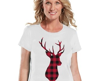 Plaid Reindeer Shirt - Christmas T-Shirt - Ladies Holiday Top - Rustic Winter Tee - White T Shirt - Holiday Shirt - Holiday Gift For Her
