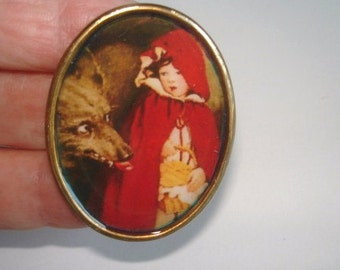 Wolf Red Riding Hood Child  Brooch