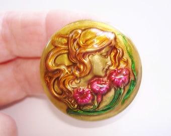 Vintage Jewelry Art Nouveau Lady Smelling Flowers Brooch Gold Tone Repousse