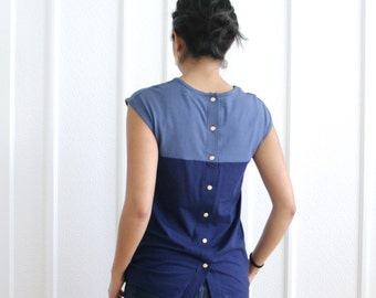 Bamboo Jersey Top, Casual Womens Tshirt, Back Button Up Tshirt, Organic Casual Top, ColorBlock Blouse in Navy Blue, Eco Womens Fashion