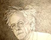 Bernie Sanders, custom portrait, print from original pencil drawing, sepia pencil portrait, American politics, elections 2016