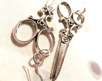 Earrings - Sterling Silver Wires - Vintage Style Scissors - Great Stylist or Hairdresser Gift
