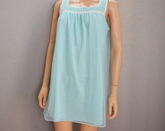 60s Nightie Baby Blue With White Trim and Smocked Neckline 60s Nightgown Lingerie Babydoll Epsteam
