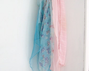 Scarves, Chiffon Scarves, Four Scarves, Pink, Aqua, Head Scarf, Neckwear, Lilacs, by mailordervintage on etsy