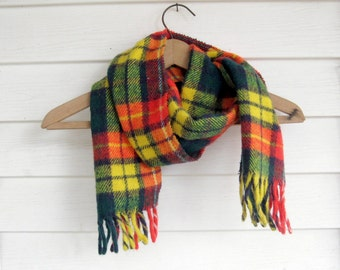 Plaid Tartan Scarf, Plaid Scarf, Wool Scarf, Yellow and Red, by mailordervintage on etsy