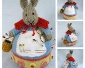 Rowena Rabbit pincushion - toy bunny knitting pattern -Pdf INSTANT DOWNLOAD